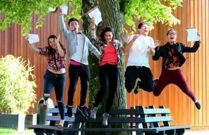 Picture - Kevin Scott / Belfast Telegraph  Belfast - Northern Ireland - Thursday 13th August 2015 - A Level Results Day   Pictured is Sophie Fusco McKeown, Stephen Hare, Natalie Magill , Salami, Kiera Donnelly  during A level results day at Lagan Collage  Picture - Kevin Scott / Belfast Telegraph