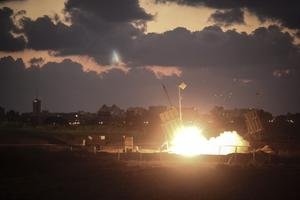ASHDOD, ISRAEL - JULY 16:  The Iron Dome air-defense system fires to intercept a rocket over the city of Ashdod on July 16, 2014 in Ashdod,Israel. (Photo by Ilia Yefimovich/Getty Images)