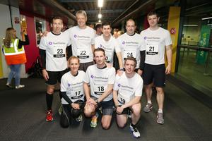 Press Eye - Belfast -  Northern Ireland - 24th June 2015 -  Runners from AECOM at the first ever Grant Thornton Runway Run at Belfast City Airport this evening. Picture by Kelvin Boyes / Press Eye.