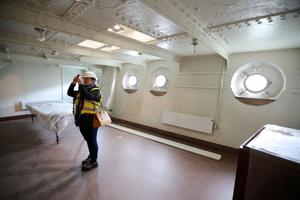 Press Eye - Belfast - Northern Ireland - 28th April 2016  - Photo by Kelvin Boyes / Press Eye   General view of HMS Caroline as Captain John Rees OBE, the man responsible for the restoration of HMS Caroline, gave the media a sneak preview of the almost completed works, four weeks before the ship opens to the public.   HMS Caroline is the last remaining floating survivor of the May 31 1916 Battle of Jutland. 10,000 Irishmen joined the Royal Navy in World War One and 300 perished at Jutland.