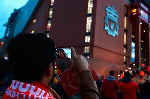 LIVERPOOL, ENGLAND - OCTOBER 17:  A fan takes a photograph of the stadium before the Premier League match between Liverpool and Manchester United at Anfield on October 17, 2016 in Liverpool, England.  (Photo by Clive Brunskill/Getty Images)