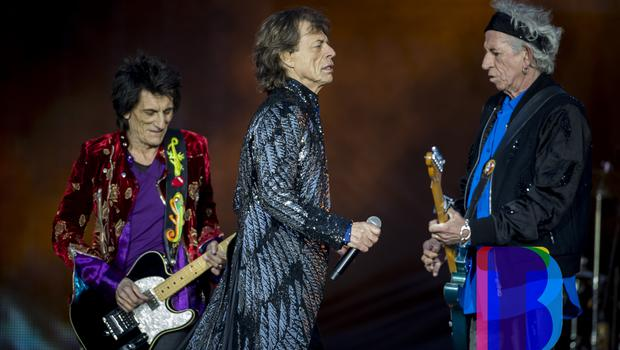 Rolling Stones Mick Jagger, Keith Richards, Ronnie Wood on stage at Croke Park, Dublin for their first night of their 'STONES - NO FILTER' 2018 tour. Thursday 17th May 2018. Credit: Liam McBurney/RAZORPIX