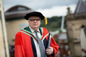 Seán Doran, an artistic director working in the international arts world, received the honorary degree of Doctor of Fine Arts (DFA) for his outstanding contribution to the English National Opera. (Photo: Nigel McDowell/Ulster University)