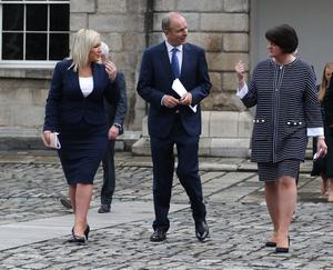 First Minister Arlene Foster, right, said the issue had been raised with Taoiseach Micheal Martin, centre, at a meeting in Dublin Castle last summer (Damien Eagers/PA)