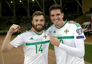 This guy though: Kyle Lafferty celebrates with man of the moment Stuart Dallas.