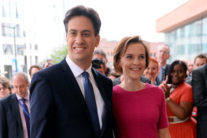 """Labour leader Ed Miliband arrives with his wife Justine Thornton. Justine has spoken of her fears that husband will be subjected to """"really vicious"""" attacks during the general election campaign."""