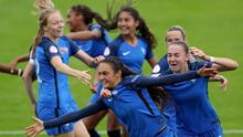 Going through: goalscorer Lina Boussaha and her France team mates celebrate reaching the semi-finals by beating England