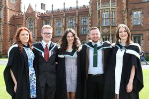 The newest graduates from Queens Universitys School of Planning, Architecture and Civil Engineering and the School of Politics, International Studies and Philosophy include (L-R) Victoria Watts, Joe Swindon, Carys Barry, John Kelly and Aoife Kelly. Photo/Paul McErlane