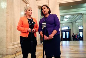 Sinn Fein leader Mary Lou McDonald (right) and deputy leader Michelle O'Neill  speaking to the media in the Great Hall at Stormont, Belfast, following a meeting with Brexit Secretary Dominic Raab. Brian Lawless/PA Wire
