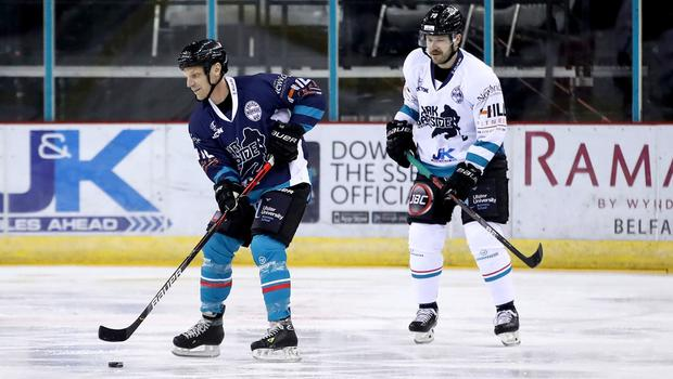 Belfast Giants forward Curtis Hamilton (white) and director of hockey operations Steve Thornton during Mark Garside's Testimonial at the SSE Arena (William Cherry/PressEye)