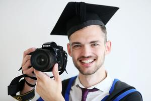Graduating from Ulster University with a BA Hons degree in Photography, Michael Mc Clenaghan from Ballymoney. Pic By Paul Moane