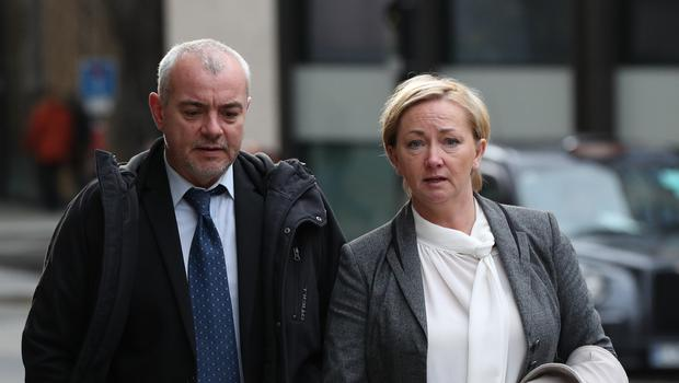 Detective Constables Lee Pollard (left) and Sharon Patterson leaving the Old Bailey (PA)