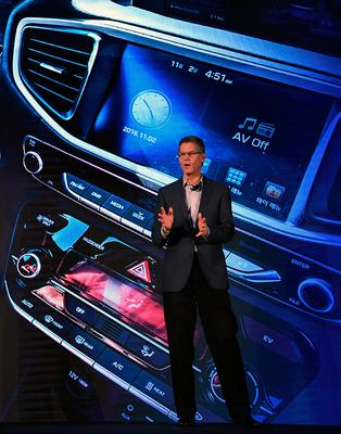 LAS VEGAS, NV - JANUARY 04:  Hyundai Motor Co. Vice President Mike O'Brien speaks during a press event for CES 2017 at the Mandalay Bay Convention Center on January 4, 2017 in Las Vegas, Nevada. CES, the world's largest annual consumer technology trade show, runs from January 5-8 and is expected to feature 3,800 exhibitors showing off their latest products and services to more than 165,000 attendees.  (Photo by Ethan Miller/Getty Images)