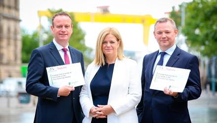 Stephen Kelly, Manufacturing NI, Maureen Treacy of Perceptive Insight and James Donnelly, Tughans