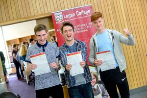 PACEMAKER BELFAST   13/08/15  Students from Lagan College Belfast receive their results today.  With an impressive number of A* & As.  Pictured Chris Dickson, Jonathan Matchett & Jack Brady Photo: Pacemaker Press