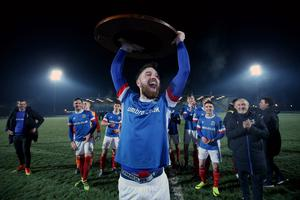 Presseye.com 7th February 2017 Toals County Antrim Shield final between Crusaders and Linfield at the Showgrounds in Ballymena.  Linfields Mark Stafford celebrates  Photograph by Presseye/Matt Mackey