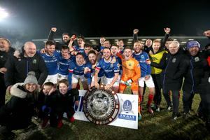 Presseye.com 7th February 2017 Toals County Antrim Shield final between Crusaders and Linfield at the Showgrounds in Ballymena.  Linfields players celebrate after lifyting the shield Photograph by Presseye/Matt Mackey