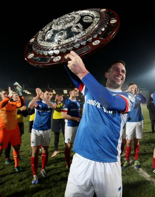 Presseye.com 7th February 2017 Toals County Antrim Shield final between Crusaders and Linfield at the Showgrounds in Ballymena.  Linfields Andy Waterworth celebrates Photograph by Presseye/Matt Mackey