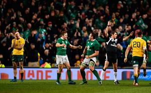 DUBLIN, IRELAND - NOVEMBER 26:  Paddy Jackson of Ireland and CJ Stander of Ireland celebrate as Referee, Jerome Garces awards Ireland a penalty to finish the game during the international match between Ireland and Australia at the Aviva Stadium on November 26, 2016 in Dublin, Ireland. (Photo by Dan Mullan/Getty Images)