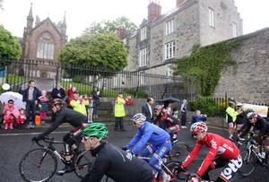 Northern Ireland- 11th May 2014 Mandatory Credit - Photo-Jonathan Porter/Presseye.  Giro dÕItalia day three - Armagh to Dublin.  Thousands of cycling fans lined the streets of Armagh to cheer off 200 of the world's top cyclists ahead of their gruelling race to Dublin.  The Cathedral City marked the last stage of the biggest cycling race ever to be hosted in Northern Ireland.  The race makes it way through the city past the Church of Ireland Cathedral on its way to the  starting line.