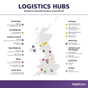 A total of 18 sites across the UK have been shortlisted for potential logistics hubs