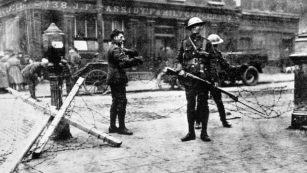 File photo dated 30/04/1916 of British troops at  a road block outside Cassidy's Grocery during the Easter Rising in Dublin, 1916 as a trove of  rarely-seen photographs lays bare the utter carnage wreaked on Dublin during the tumultuous Easter Rising 100 years ago this weekend. PA