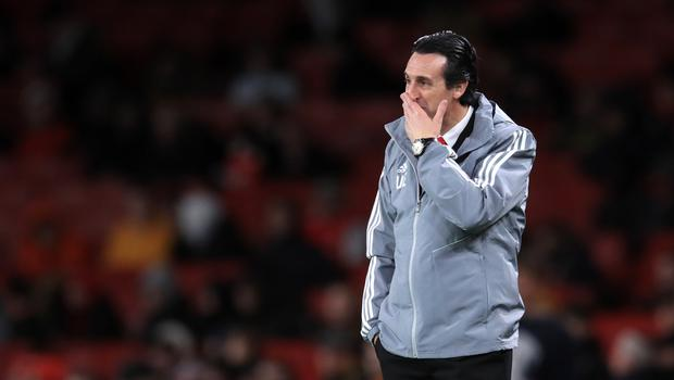 Arsenal manager Unai Emery on the touchline on Thursday (Adam Davy/PA)