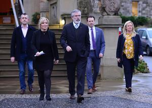 Sinn Féin's leadership team pictured talking to the media at Stormont Castle, in Belfast. Sinn Féin MLAs left their brief meeting with Secretary of State James Brokenshire.  Picture By: Arthur Allison.