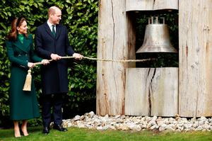 The Duke and Duchess of Cambridge ring the Peace Bell as they meet with the President of Ireland, Michael D. Higgins and his wife Sabina Coyne at Aras an Uachtarain, Dublin, during their three day visit to the Republic of Ireland. PA Photo. Picture date: Tuesday March 3, 2020. See PA story ROYAL Cambridge. Photo credit should read: Phil Noble/PA Wire