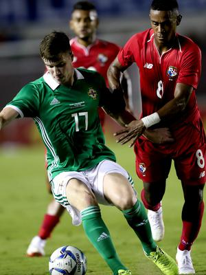 Press Eye - Belfast -  Northern Ireland - 29th May 2018 - Photo by William Cherry/Presseye  Panama's Edgar Yoel Barcenas with Northern Ireland's Paddy McNair during Wednesday nights International Friendly at the Estadio Rommel Fernandez, Panama City.