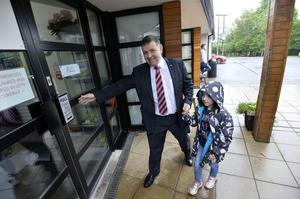 Ulster Unionist party leader Robin Swan pictured with daughter Freya  at Kells and Conor primary school as he casts his vote for this years Westminster Elections. Press Eye - Belfast - Northern Ireland 8th June  2017 - Picture by Stephen Hamilton / Press Eye.