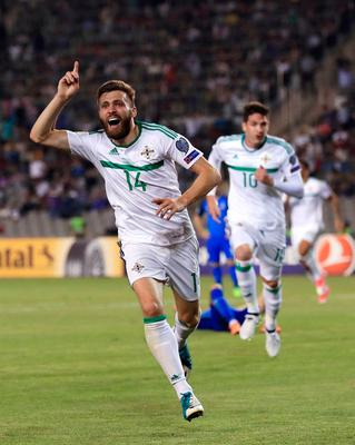 Hands up if you want to go to Russia: Northern Ireland's Stuart Dallas celebrates scoring his side's goal of the game at the Tofiq Bakhramov Stadium, Baku.