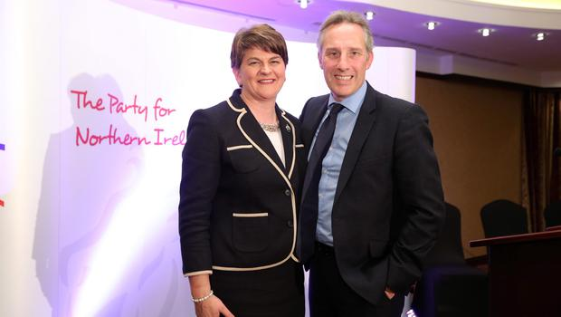 Press Eye - Belfast - Northern Ireland - 17th December 2015  New Leader of the DUP Arlene Foster pictured at a Belfast Hotel where she was chosen as party leader of the DUP.  She is pictured with Ian Paisley MP.  Picture by Kelvin Boyes  / Press Eye.