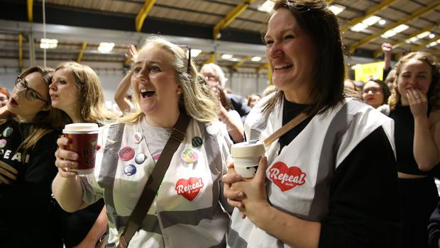 Repeal supporters at Dublin's RDS (Brian Lawless/PA)
