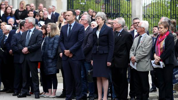 Irish Taoiseach Leo Varadkar and Prime Minister Theresa May pictured at  the funeral and service of thanksgiving for the life of journalist Lyra McKee