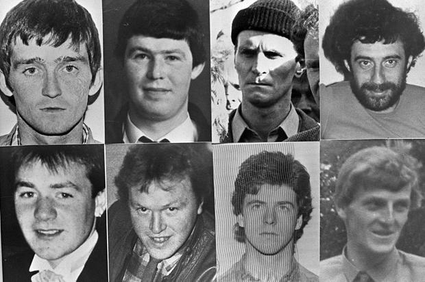 PACEMAKER BELFAST MAY 1987 JH/MW MONTAGE PIC OF THE 8 IRA MEN WHO WERE SHOT DEAD BY THE SAS AS THEY TRIED TO BLOW UP LOUGHGALL RUC STATION. FROM TOP LEFT-PATRICK McKEARNEY, TONY GORMLEY,JIM LYNAGH, PADDY KELLY. FROM BOTTOM LEFT-DECLAN ARTHURS, GERARD O'CALLAGHAN, SEAMUS DONNELLY AND EUGENE KELLY. 388/87/BW
