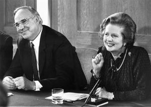 1983:  (FILE PHOTO)  Baroness Margaret Thatcher, 85, Britain's Prime Minister from 1979 to 1990, Reports on April 8, 2013 state that Baroness Thatcher has died following a stroke.. Please refer to the following profile on Getty Images Archival for further imagery.  http://www.gettyimages.com/Search/Search.aspx?EventId=108930459&EditorialProduct=Archival   British prime minister Margaret Thatcher and her German counterpart, Helmut Kohl, at a press conference at Number 12 Downing Street on April 22, 1983 in London, England.  (Photo by Keystone/Getty Images)