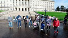 Family members who have loved ones in care homes at a demonstration at Parliament Buildings