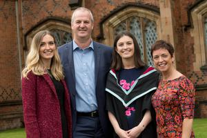 Ellen Hood, from Lisburn, celebrated graduating with a degree in Mechanical Engineering from the School of Mechanical and Aerospace Engineering at Queen's University Belfast. Ellen is pictured with her parents, Ken and Doreen and sister, Keziah.