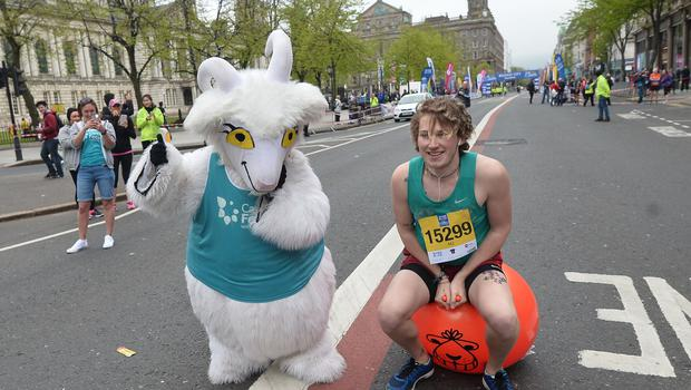 Pacemaker Press 7/5/2018  A Fun Runner takes part in the  River Rock Belfast City Marathon 2018 , on May Bank holiday Monday, with thousands of participants taking part in the Marathon , relay and fun runners. Pic Colm Lenaghan/Pacemaker