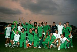 Party time: Ireland celebrate their stunning triumph over Pakistan, then the World No.4 side, in Jamaica at the ICC Cricket World Cup on St Patrick's Day 2007