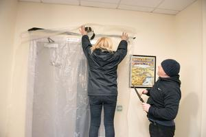 The doorway from the kitchen area which was damaged by fire is sealed in the North West Learning Disability Centre on Foyle Road. Picture Martin McKeown. 01.03.20