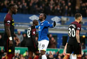 "Everton's Romelu Lukaku celerbates scoring his side's first goal during the Premier League match at Goodison Park, Liverpool. PRESS ASSOCIATION Photo. Picture date: Sunday January 15, 2017. See PA story SOCCER Everton. Photo credit should read: Peter Byrne/PA Wire. RESTRICTIONS: EDITORIAL USE ONLY No use with unauthorised audio, video, data, fixture lists, club/league logos or ""live"" services. Online in-match use limited to 75 images, no video emulation. No use in betting, games or single club/league/player publications."