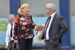 10th August 2020 -  Funeral of past UTV Presenter Brian Black as it passes through his home town of Strangford on its way to  Roselawn cemetery in Belfast. UTV editor of news Chris Hagan chats with former reporter Jeanie Johnston Photo by Stephen Hamilton/Presseye