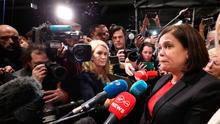 Sinn Fein President Mary Lou McDonald during the Irish General Election count at the RDS in Dublin.  Niall Carson/PA Wire