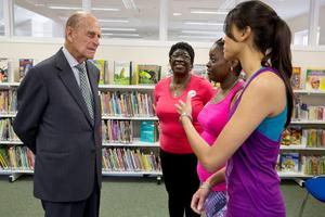 "The Duke of Edinbugh reportedly asked a group of women who they ""sponge off"" during a visit to Chadwell Heath Community Centre. July 2015"