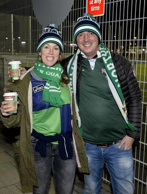 12th November 2020 Northern Ireland fans pictured as they arrive at the National Stadium in Belfast ahead of tonights game against Slovakia Simon and Anne Duckett from Belfast. Mandatory Credit : Stephen Hamilton