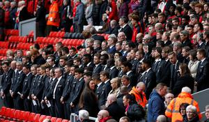Former past and present players and managers take their place during the last memorial service to be held at Anfield, Liverpool, to mark 27 years to the day since the tragedy claimed 96 lives. PRESS ASSOCIATION Photo. Picture date: Friday April 15, 2016. The 96 Liverpool fans died in the crush on the Leppings Lane terraces at Sheffield Wednesday's Hillsborough stadium after going to see their team play Nottingham Forest in an FA Cup semi-final on April 15, 1989. See PA story MEMORIAL Hillsborough. Photo credit should read: Peter Byrne/PA Wire