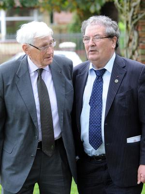 PACEMAKER, BELFAST, 15/8/2011:  Former SDLP leaders Seamus Mallon and John Hume chat at the funeral of  the journalist James Kelly in Belfast today. PICTURE BY STEPHEN DAVISON