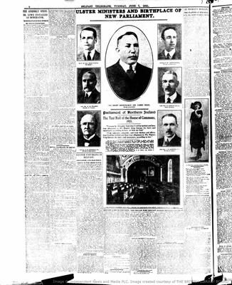 The Belfast Telegraph coverage of the first Parliament
